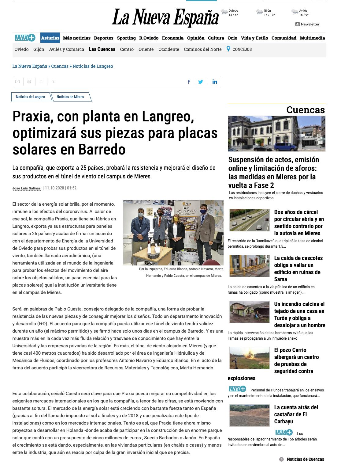 Noticia de La Nueva España